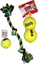 Dog Toy Bundle: (2) Large KONG Squeaker Tennis Balls - (1) Medium KONG Squeaker Dog Tennis Ball & (1) Dog Rope Toy - 16.5 inches