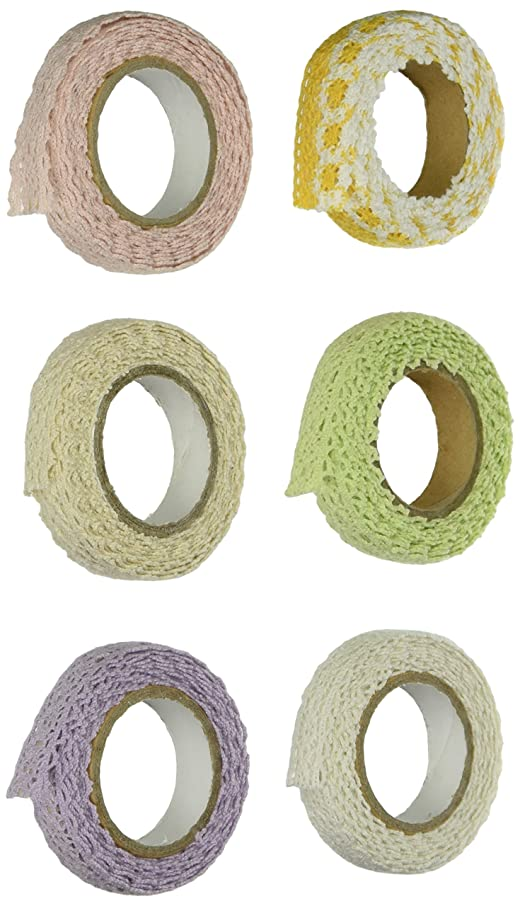 Wrapables Colorful Decorative Lace Tape Collection for GRP2, Set of 6