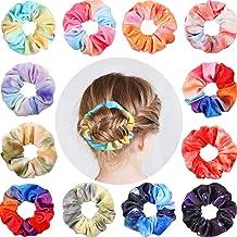 12 Pieces Tie Dye Velvet Scrunchies for Hair, Hair Scrunchies Cotton Rainbow Gradient Scrunchies Hair Ties Strong Elastic ...
