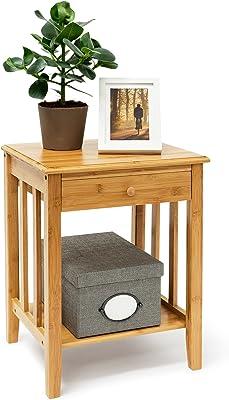 Relaxdays Table d'appoint en bambou avec tiroir: 51,5x 40,5x 30,5cm, Table de chevet solide avec étagère inférieure en bois naturel