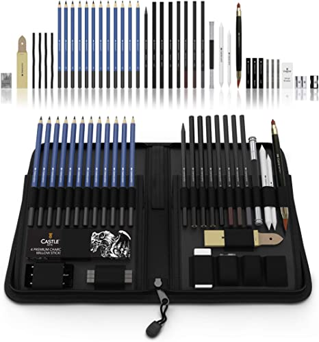 Castle Art Supplies Graphite Drawing Pencils and Sketch Set (40-Piece Kit), Complete Artist Kit Includes Charcoals, P...