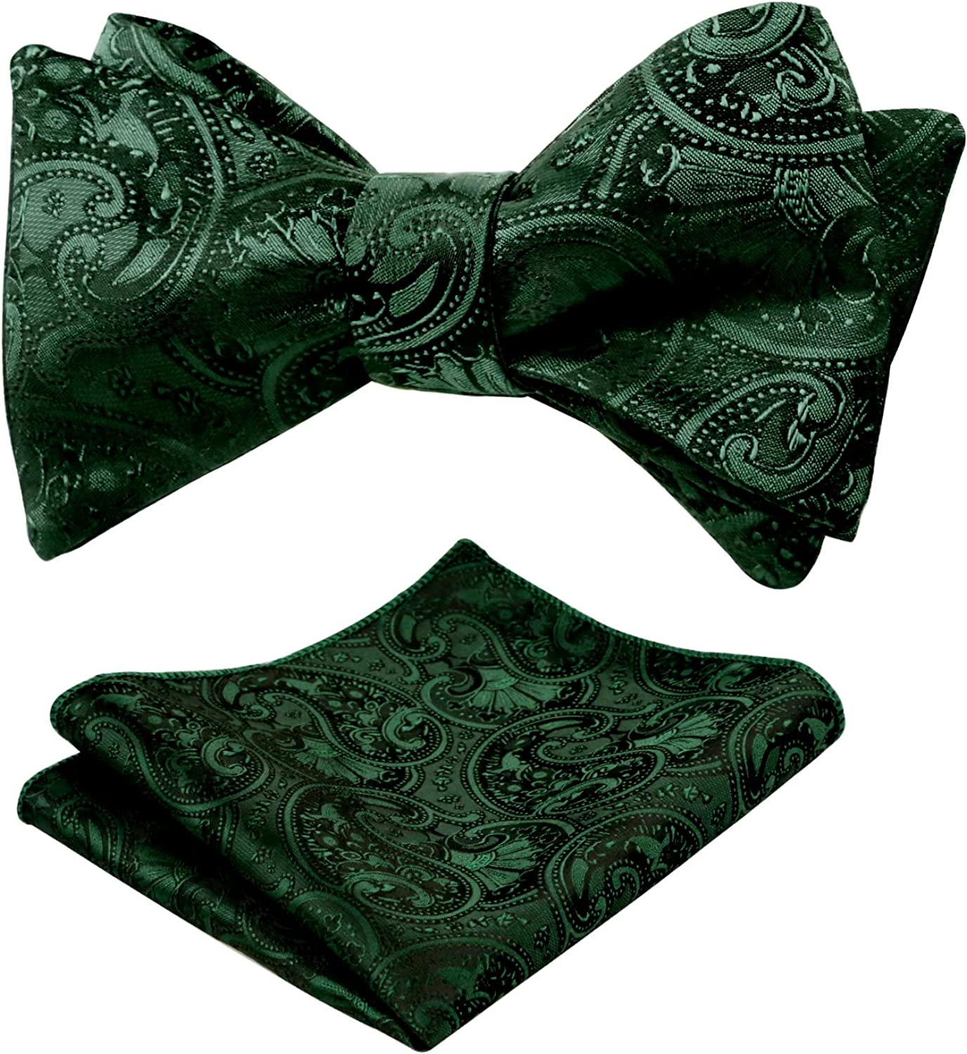 Alizeal Mens Paisley Floral Jacquard Untied Bowtie and Pocket Square Set
