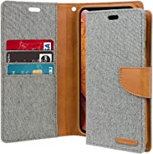 iPhone Xs Case, iPhone X Case [Drop Protection] Goospery Canvas Diary [Denim Material] Wallet Case [Card Slots] Stand Flip Cover [Magnetic Closure] for Apple iPhone Xs/X (Gray) IPX-CAN-Gry