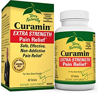 Terry Naturally Curamin Extra Strength - Non-Addictive Pain Relief Supplement with Curcumin from Turmeric, Boswellia & DLP...