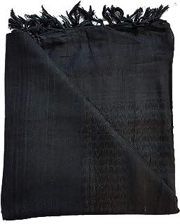 100% Cotton Plain Black Shemagh Arab Keffiyeh Headscarf Unisex Desert Shawl Hijab Scarf