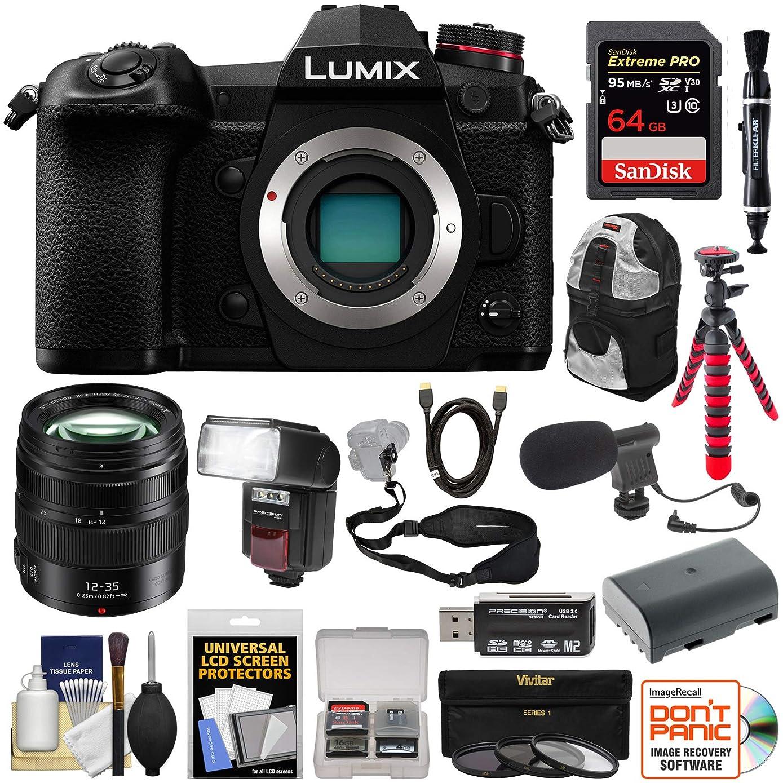Panasonic Lumix DC-G9 4K Wi-Fi Digital Camera Body with 12-35mm f/2.8 Lens + 64GB + Battery + Backpack + Flash/LED + Mic + Tripod Kit