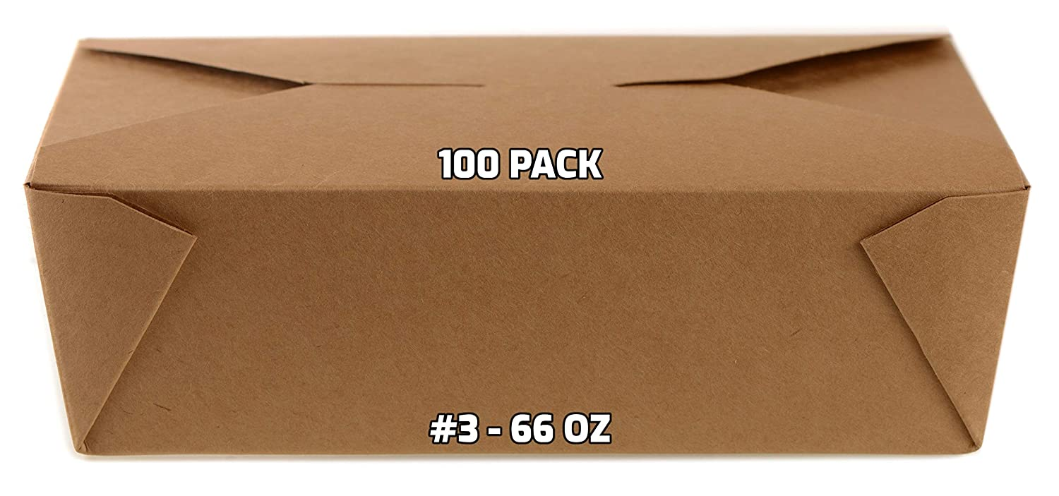 [100 PACK] Take Out Food Containers 66 oz Kraft Brown Paper Take