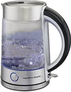 Hamilton Beach Modern Glass Electric Kettle, Water Boiler & Tea Heater, 1.7 L, LED Indicator, Cordless, Auto-Shutoff & Boil-Dry Protection (40867)
