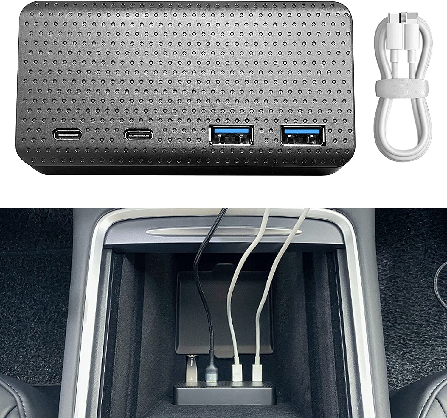 SUMK 2021 Tesla Model 3/Y 4-Port USB Hub Center Console Adapter, Model 3 Model Y Accessories Game & Boombox Music USB Hub 4 in 1 Ports 2021 Upgrade for Refreshed 2021 Model 3/Y