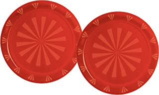 Party Essentials Hard Plastic 12-Inch Round Serving Trays, Red, 2-Pack