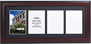 CreativePF 4 Opening Mahogany Picture Frame with Glass to Hold 5 by 7 inch Photographs Including 10x24-inch Black Mat Collage
