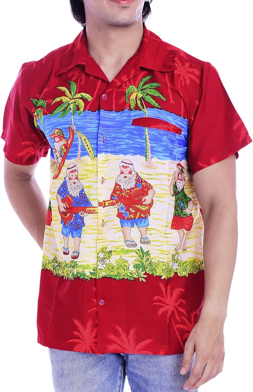 Virgin Crafts Christmas Hawiian Shirt for Boy/Girl Santa Claus Party Tropical Summer Shirt