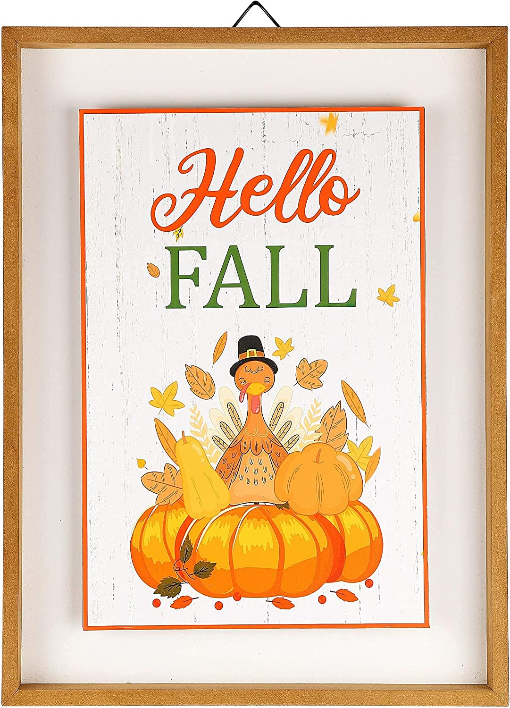 winemana Fall Wall Decor, Thanksgiving Decoration Hello Fall Sign, 15.4