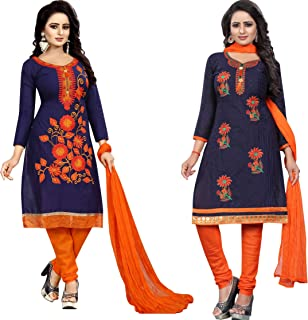 Samarth Enterprise Women's Straight Dress Material (Pack of 2) (Unstitched)