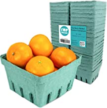 [44 Pack] Pint Green Molded Pulp Fiber Berry Basket Produce Vented Container for Fruit and Vegetable, Farmer Market, Grocery Stores and Backyard Party