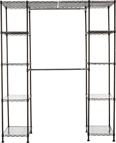 "Amazon Basics Expandable Metal Hanging Storage Organizer Rack Wardrobe with Shelves, 14""-63"" x 58""-72"", Bronze"