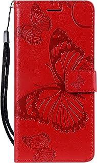 Lomogo Funda Nokia 3.1Plus Cartera Funda de Cuero Ranuras para Tarjetas Cierre Magnetico Soporte Plegable Carcasa Antigolpes para Nokia 3.1 Plus LOKTU090286 Rojo