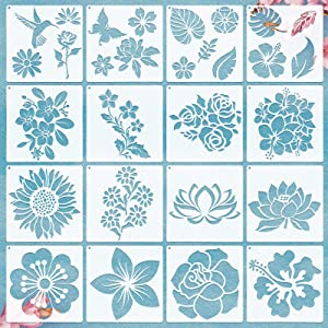 16 Pieces Flower Stencil Rose Sunflower Stencil Spring Summer Stencil Template Bird Leaf Drawing Template Reusable Painting Stencil and Metal Open Ring for Painting on Wood Wall Decor (6.3 x 6.3 Inch)