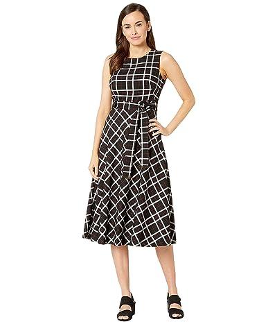 Calvin Klein Belted Plaid Dress (Black/Cream/Rosewood) Women