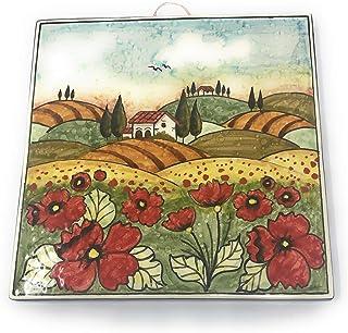 CERAMICHE D'ARTE PARRINI- Ceramica italiana artistica, mattonella decorazione paesaggio papaveri, fatta a mano made in ITA...