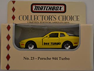 HWz Porsche 944 Turbo Yellow #23 Matchbox MBX Limited Edition Miniatures Collector's Choice Series 1:64 Scale Collectible Die Cast Model Car