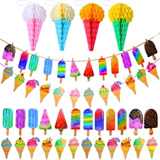 Elcoho 2 Pack Ice Cream Party Decoration Set Paper Garland Banner Pattern Hanging Decoration and 4 Sheets Tissue Paper Cone Honeycomb Balls for School Summer Kid Birthday Party Decoration