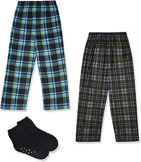 Mad Dog Boy's 2-Pack Pajama Pants + Slipper Socks (Sizes 4-16)