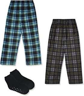 Mad Dog Boy's 2-Pack Micro Fleece Pajama Pants + Slipper...