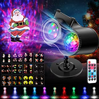 Christmas Projector Light NockNock 2-in-1 Animation Effect Halloween Projector Light with Ocean Wave LED Lights Waterproof Outdoor Indoor Party Garden Decorations, 12 Slides 10 Colors