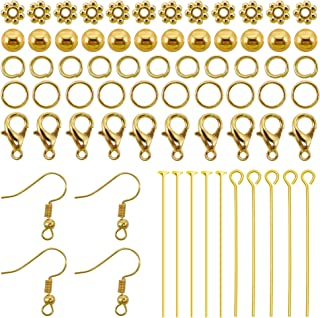 TOAOB 370 Pieces Jewelry Making Kit Jewelry Findings Starter Kit Jewelry Repair Tools Gold Tone Including Beads and Accessories