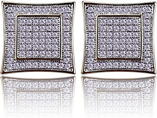 TOPGRILLZ Iced out Men's 14k Gold Large Square Kite Screw Back Hypoallergenic Stud Earrings with Simulated Diamond for boy