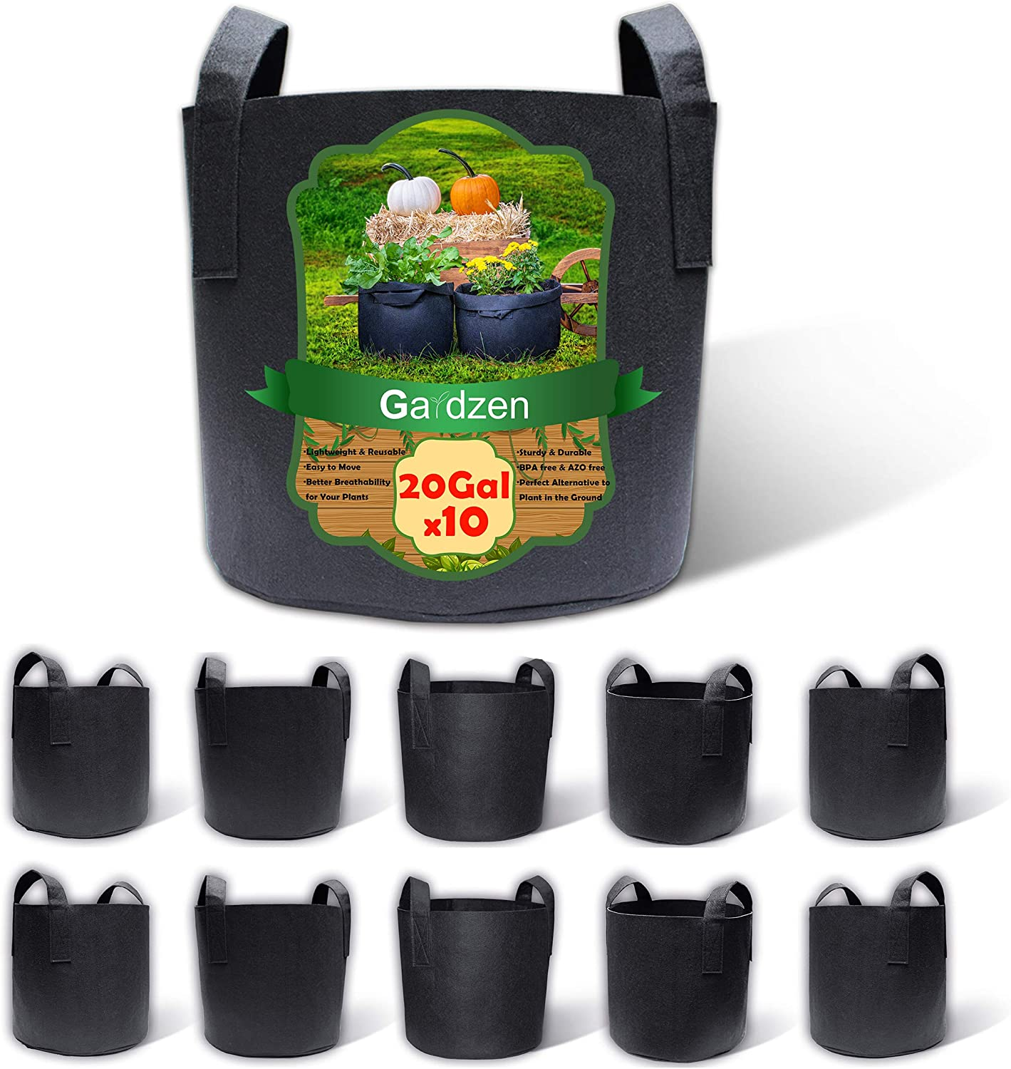 Gardzen 10-Pack 20 Gallon Grow Special price for a limited time New products world's highest quality popular Bags Fabric Pots Aeration H with