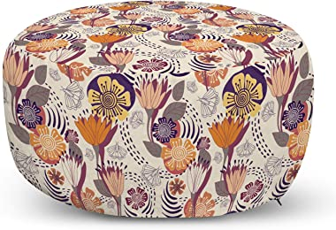 Lunarable Flower Pouf Cover with Zipper, Meadow Spring Time Blooming Petals Flourishing New Season with Flying Butterflies, S
