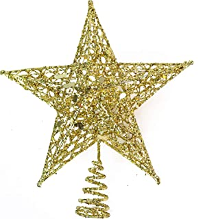 Ornativity Gold Star Tree Topper - Christmas Glitter Star Ornament Treetop Decoration