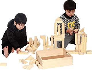 MOD Complete Extra Large Size - 64 Piece Set Children's Wood Building Blocks with Solid Wooden Storage Tray Holder- Made from Solid Organic BPA-Free Natural New Zealand Pinewood