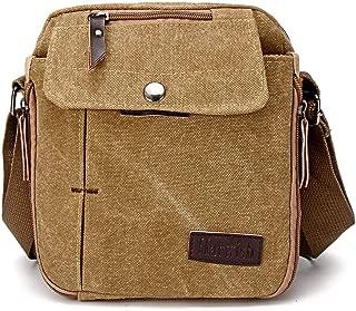 Men Canvas Satchel School Casual Shoulder Messenger Bag Pack Phone Pouch Outdoor Travel Hiking