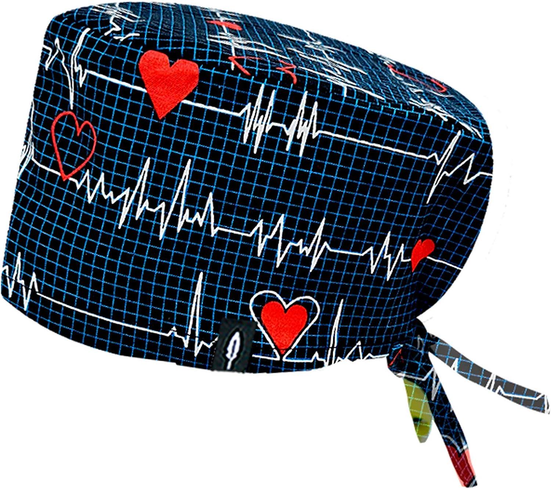 Robin Hat - Gorro de Quirófano Modelo: ELECTROCARDIOGRAMA - Pelo Largo - 100% Algodón (autoclave) - Tamaño Ajustable.