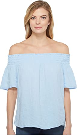Double Gauze Smocked Off Shoulder