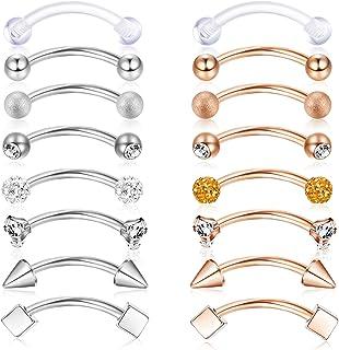 16Pcs Acero Inoxidable Rook Daith Pendientes CZ Bola Curva Lengua de ceja Vientre Barbell Body Piercing 16G 8mm (5/16