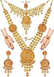 Efulgenz Indian Bollywood Bridal Wedding Kundan Crystal Necklace Earring Maang Tikka Head Chain Nose Ring Bracelet Jewelry...