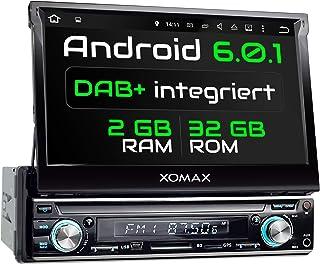 XOMAX XM VDA713 Autoradio mit integriertem DAB+ Tuner, Android 6.0.1, 2GB RAM, 32GB ROM, Navigation, WLAN, 3G 4G, OBD2, Bluetooth Freisprecheinrichtung, 7' Touchscreen Bildschirm, USB, SD, 1 DIN