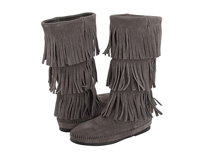 Vintage Boots, Granny Boots, Retro Boots Minnetonka Calf Hi 3-Layer Fringe Boot Grey Womens Pull-on Boots $69.99 AT vintagedancer.com