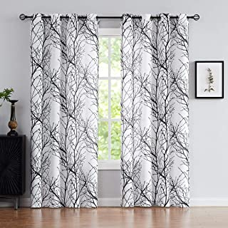 Fmfunctex Halloween Black White Sheer Curtains for Living-Room 84 inches Long Print Semi-Sheer Window Drapes for Bedroom Branch Tree Curtains for Patio Door Kitchen Grommet Top