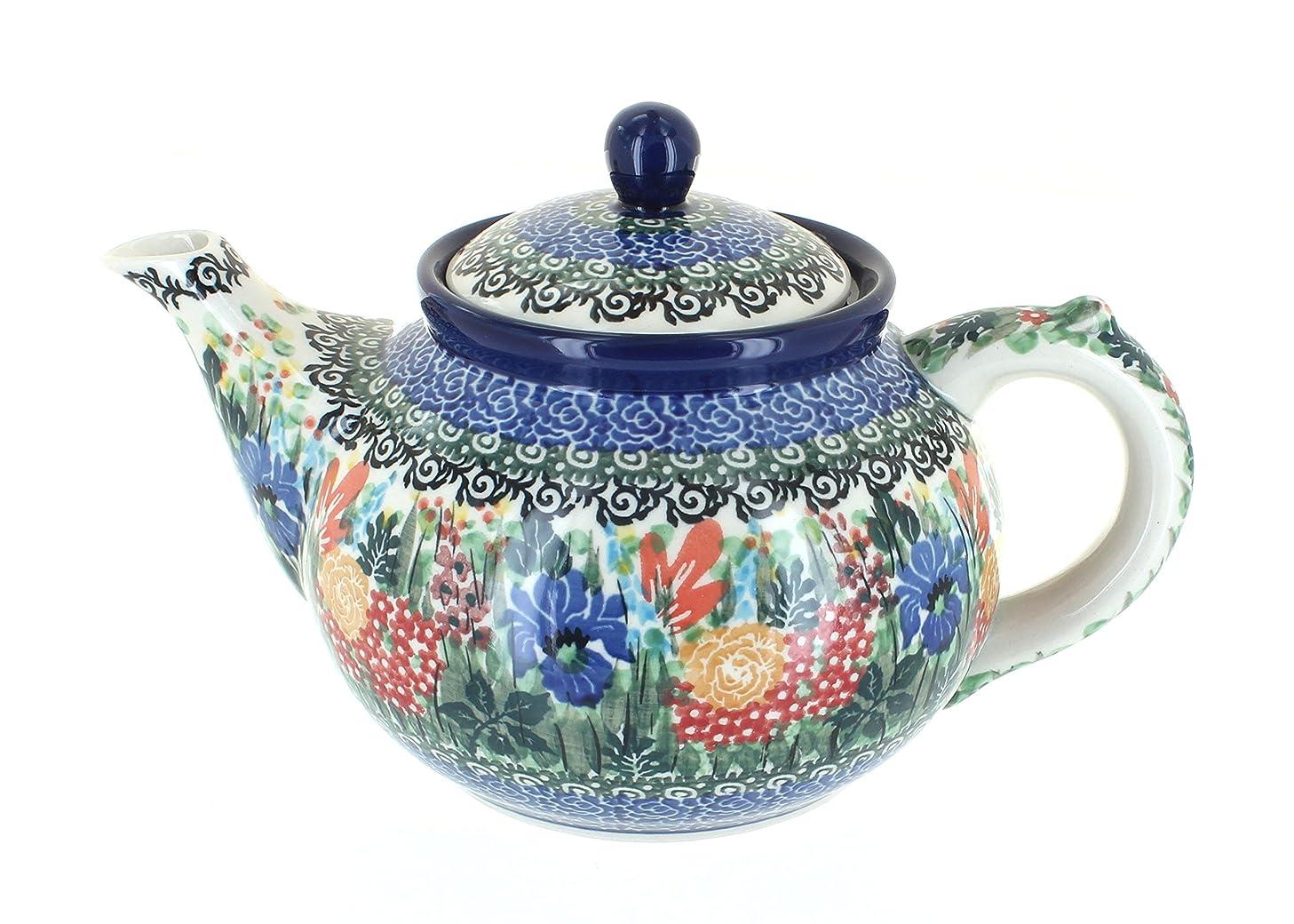 Blue Rose Polish Pottery Summer Blooms Medium Teapot