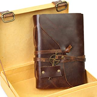 """$26 » Vintage Leather Notebook - Small Antique Handmade Leather Bound Journal with Authentic Deckle Edge Paper in a Keepsake Gift Box - Perfect for Writing, a Diary, Sketching - Only 4""""x6"""""""