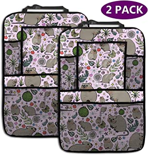 Quokka Party Personalized Backseat Car Organizer, Kick Mats Car Back Seat Protector for Toys Book Bottle Drinks Travel Accessories, 2 Pack