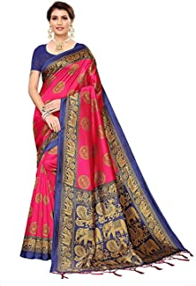 Winza Designer Women's Banarasi Art Silk Saree with Blouse Pink