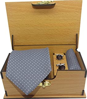 Luxeis Men Premium cotton silk Neck Tie and Pocket Square with Cufflink Combo Gift Set in Premium Wooden Box(Grey, Free Size)