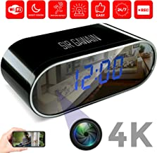 $58 Get SIRGAWAIN Hidden Spy Camera Alarm Clock WiFi | 4K Video | Nanny Cam | Home Surveillance | Small Personal Security | Night Vision and Motion Detection | Wide 150° Viewing Angle