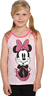 Disney Girls Minnie Mouse Sleeveless T-Shirt Raglan Tank Top Glitter